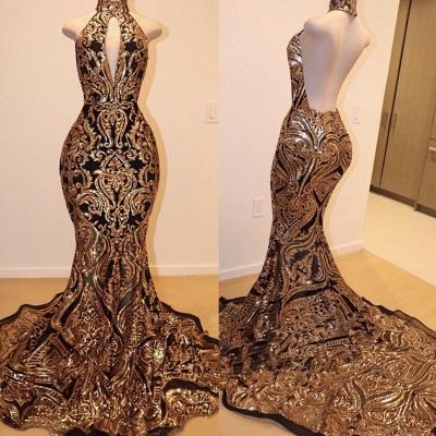 Halter Keyhole Neckline Sequins Appliqued Elegant Mermaid Prom Dress UK UKes UK_2