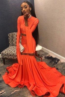 Elegant Orange Long-Sleeves High-Neck Elegant Trumpt Long Prom Dress UK_1