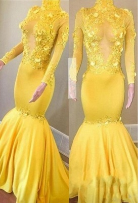 Sexy Yellow High Neck Flower Lace Appliques Elegant Mermaid Long Sleeves Prom Dress UK UKes UK_1