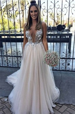 Sexy Flower Lace Appliques Elegant V-Neck Prom Dress UKes UK Sheer Sleeveless Evening Dress UKes UK with Crystal_1