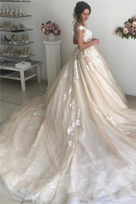 Applique Off-the-Shoulder Wedding Dresses UK Sequins Backless Sleeveless Floral Bridal Gowns_2