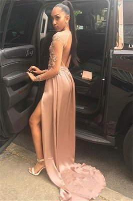 Amazing with Sleeves Side Slit Open back Applique A-Line Long Prom Dress UK UK_2