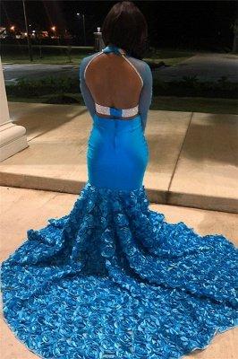 Simple Blue Sheer Tulle Long Sleeves Floral Lace Applique Elegant Trumpt Prom Dress UKes UK UK_2