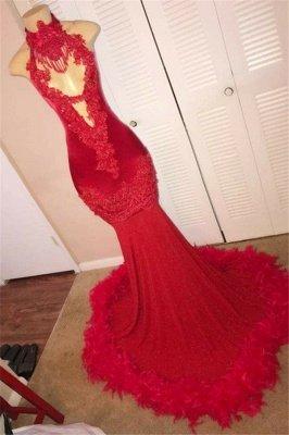 Red Halter without Sleeve Feather Applique Elegant Mermaid Evening Dress UK UK_1