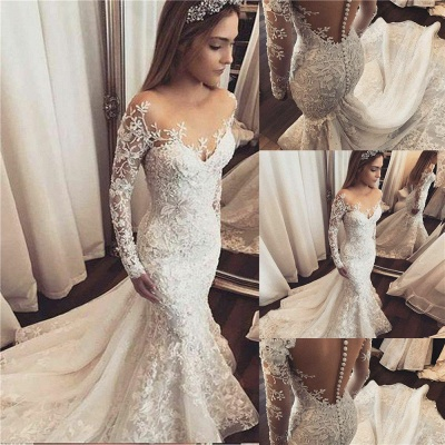 Gorgeous Beads Appliques Off-the-Shoulder Wedding Dresses UK | Ruffles Sheer Longsleeves Floral Bridal Gowns_2