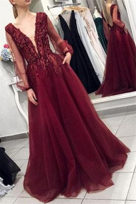 Burgundy Elegant V-Neck Long Sleeves Applique Prom Dress UKes UK Tulle Elegant Evening Dress UKes UK with Beads_1