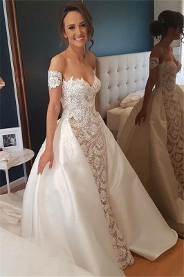 Lace Appliques Sweetheart Wedding Dresses UK Overskirt Sleeveless Floral Bridal Gowns