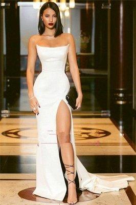 Elegant Strapless Side Slit Evening Dress UKes UK Sexy Online | Black White Sleeveless Sexy Formal Party Dress UK_3