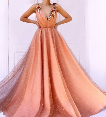 Orange Floral Lace Appliques Straps Sleeveless Tulle A-Line Prom Dress UK_3