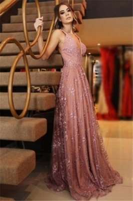 Sexy Pink Lace Appliques Elegant V-Neck Prom Dress UKes UK Backless Sleeveless Evening Dress UKes UK_1