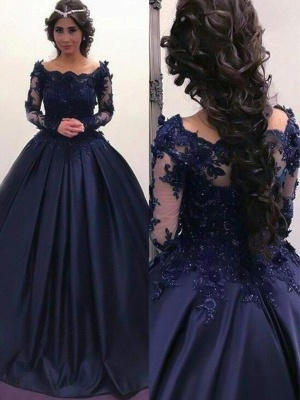 Lace Lace Appliques Bateau Long Sleeves Prom Dress UKes UK Ball Gown Evening Dress UKes UK with Beads_2