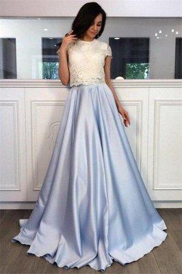 Lace Appliques Jewel Prom Dress UKes UK Two Piece Ruffles Sleeveless Evening Dress UKes UK_1