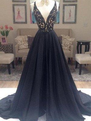 Black Lace Elegant V-Neck Sleeveless Prom Dress UKes UK Open Back Evening Dress UKes UK with Beads_1