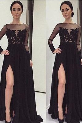 Black Long Sleeve Prom Dress UKes UKLace Bateau Side Slit Tulle Evening Dress UKes UK_2