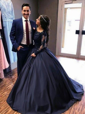 Lace Lace Appliques Bateau Long Sleeves Prom Dress UKes UK Ball Gown Evening Dress UKes UK with Beads_6