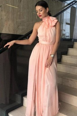 Sexy Sheer Halter Ribbons Prom Dress UKes UK Side slit Overskirt Bowknot Sleeveless Evening Dress UKes UK_2