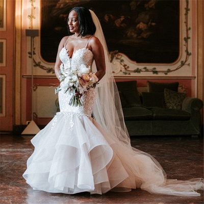Elegant Spaghetti-Strap Appliques Wedding Dresses UK | Rubbons  Sexy Mermaid Sleeveless Floral Bridal Gowns_2
