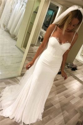 Spaghetti-Strap Appliques Wedding Dresses UK   Rubbons Sheer Sleeveless Floral Bridal Gowns_1