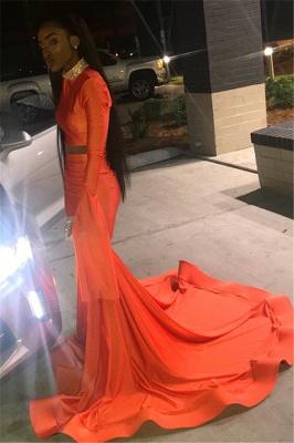 Elegant Orange Long-Sleeves High-Neck Elegant Trumpt Long Prom Dress UK_2
