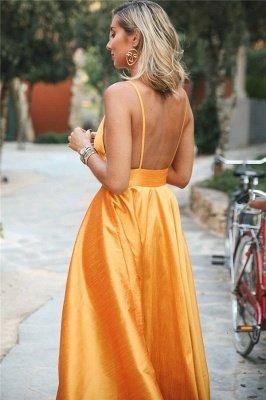 Simple Orange Spaghetti-Straps without Sleeve Alluring V-Neck A-Line Prom Dress UK UK_2