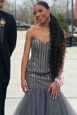 Sweetheart Sequins Prom Dress UKes UK Mermaid Tulle Sleeveless Evening Dress UKes UK with Beads_2