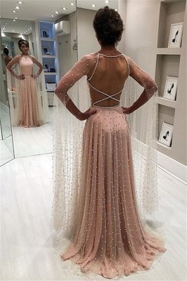 Simple Sexy Pink Sheer-Tulle Open back Beading A-Line Prom Dress UK UK_1