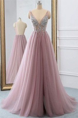 Pink Elegant V-Neck Lace Appliques Crystal Prom Dress UKes UK Sheer Side slit Backless Sleeveless Evening Dress UKes UK_1
