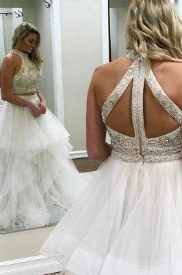 Beads halter Lace Appliques Prom Dress UKes UK Two Piece Tulle Sleeveless Evening Dress UKes UK_2