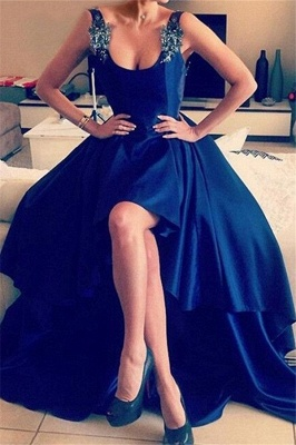 Royal Blue 3-D Flower Crystal Prom Dress UKes UK Hi-lo Open Back Elegant Evening Dress UKes UK with Beads_2