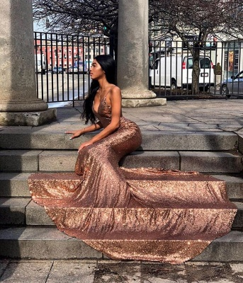 Amazing Spaghetti-Straps Sequins Elegant Mermaid Prom Dress UK UK_2