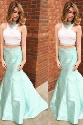 Sexy Halter Crystal Mermaid Prom Dress UKes UK Two Piece Ruffles Sleeveless Evening Dress UKes UK_1