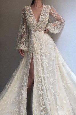 Chic V-Neck Side Slit Long Sleeve Evening Dresses | Lace Applique A-line Prom Dress UK_1
