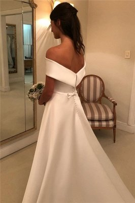 Elegant Off-the-Shoulder Wedding Dresses UK Bowknot Ribbons Sleeveless Floral Bridal Gowns_2