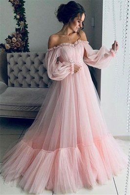 Amazing Off-The-Shoulder with Sleeves Sheer-Tulle A-Line Prom Dress UK UK_2