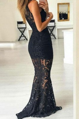 Lace Halter Lace Appliques Prom Dress UKes UK Mermaid Sleeveless Evening Dress UKes UK_2