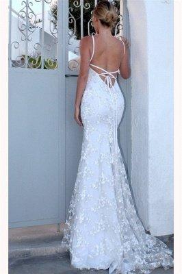 Sexy Spaghetti-Strap Lace Appliques Prom Dress UKes UK Side slit Lace-Up Mermaid Sleeveless Evening Dress UKes UK_2