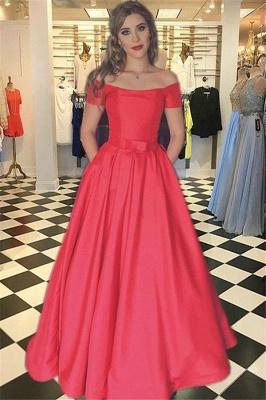 Sexy Red Prom Dress UKes UK Bateau Off-the-Shoulder Elegant Evening Dress UK with Sash_1