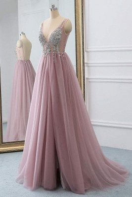 Pink Elegant V-Neck Lace Appliques Crystal Prom Dress UKes UK Sheer Side slit Backless Sleeveless Evening Dress UKes UK_4