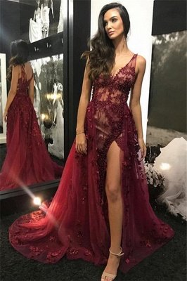 Trendy Burgundy Maroon Straps Alluring V-Neck Lace Beading Side-Split Tulle Detachable A-Line Evening Dress UK UK_1