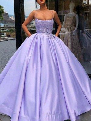 Sexy Spaghetti Strap Applique Beads Prom Dress UKes UK Ruffles Ball Gown Sleeveless Elegant Evening Dress UKes UK with Pocket_2