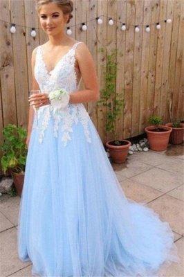 Sexy Elegant V-Neck Lace Appliques Open Back Prom Dress UKes UK Tulle Sexy Sleeveless Evening Dress UKes UK_1