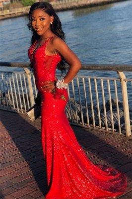 Sexy Red Sequins Elegant Trumpt Spaghetti-Straps Long Prom Dress UKes UK UK_1