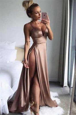 Spaghetti Strap Sleeveless Prom Dress UKes UK Side Slit Sexy Evening Dress UKes UK_1