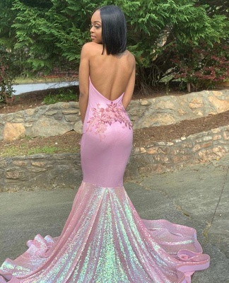 Halter Lace Appliques Sequins Prom Dress UKes UK Ruffles Open Back Mermaid Sleeveless Evening Dress UKes UK_3