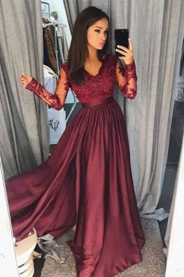 Maroon Burgundy Long Sleeve Prom Dress UK Lace With Split_2