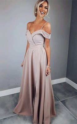 Sexy Spaghetti Strap Prom Dress UKes UK Sleeveless Side Slit Elegant Evening Dress UKes UK Sexy_1