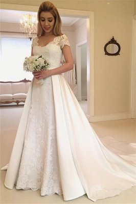 Applique Cap Straps Wedding Dresses UK Overskirt Jewel Floral Bridal Gowns