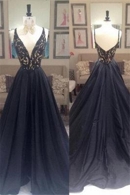 Black Lace Elegant V-Neck Sleeveless Prom Dress UKes UK Open Back Evening Dress UKes UK with Beads_4