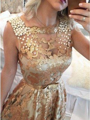 Luxury Gold Straps Beaded Sequins Sleeveless Prom Dress UK_2