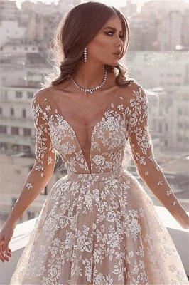 Elegant Lace Applique Wedding Dresses UK Long Sleeves Floral Bridal Gowns_2